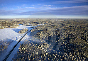 Highway In The Winter Forest Stock Image - Image: 18153281