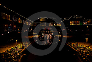 Festive Lighting Of Majestic Home Royalty Free Stock Photography - Image: 18154847