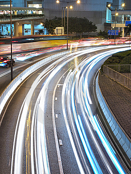 Downtown Traffic At Night Royalty Free Stock Photography - Image: 18156557