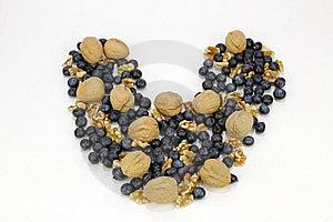 Blueberry Walnut Heart Royalty Free Stock Image - Image: 18158036