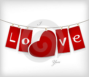 Valentine Hanging Labels. Royalty Free Stock Photography - Image: 18158647