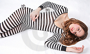 Pretty Teen In Zebra Bodysuit With Toy Zebras Stock Photos - Image: 18158833