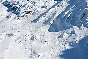 Ski And Snowboard Tracks On Mountain Stock Images - Image: 18162134