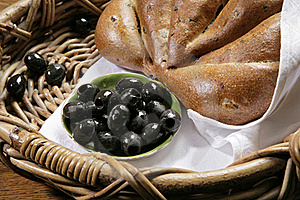 Chiabatta With Olives On Bakery Basket Stock Image - Image: 18162961