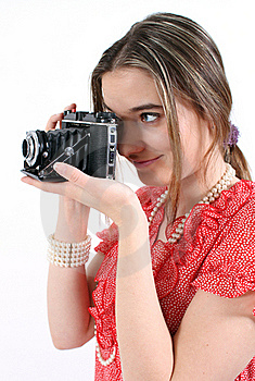 Taking A Picture With Vintage Camera Stock Photos - Image: 18163173