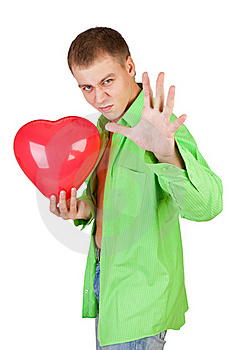 Guy Holding A Red Heart Stock Images - Image: 18163724