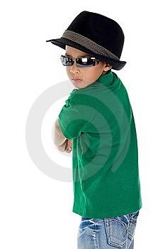 Cool Boy With Sunglasses And Hat Royalty Free Stock Photos - Image: 18164518