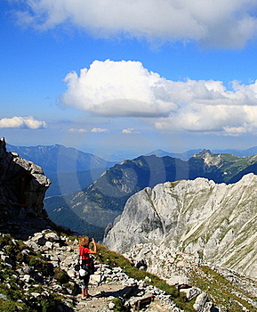 Woman And Camera In Alps Stock Images - Image: 18164754