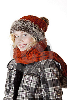 Young Blond Girl With Winter Cap And Jacket Stock Photos - Image: 18164823