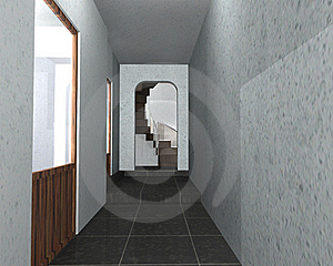 3D Interior Of A Hallway Royalty Free Stock Image - Image: 18168126