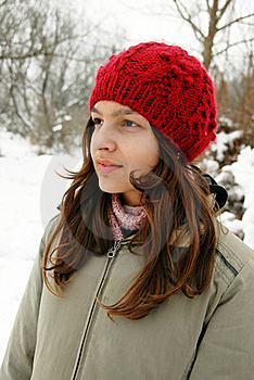 Teenage Girl In Red Cap Portrait Stock Image - Image: 18175561