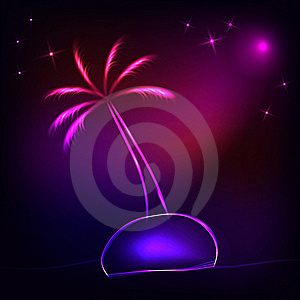 Island With A Neon Palm Tree Royalty Free Stock Photography - Image: 18183137