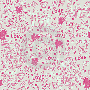 Seamless Romantic Pattern Royalty Free Stock Photography - Image: 18184557