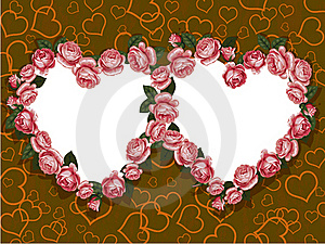 Rose Two Hearts Frame Stock Photos - Image: 18185453