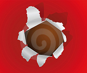 Hole In The Sheet Of A Paper Royalty Free Stock Photo - Image: 18187385