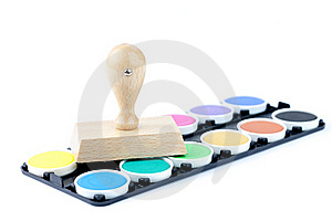 Stamp And Color Palette Stock Photo - Image: 18187410