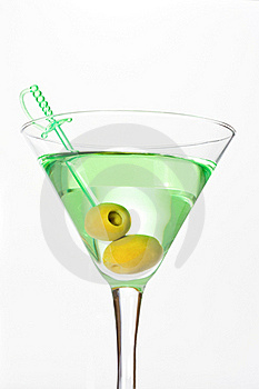 Green Alcohol Cocktail With Martini And Olives Royalty Free Stock Photo - Image: 18191305
