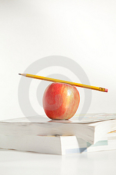 Pencil On Top An Apple Royalty Free Stock Photography - Image: 18192807