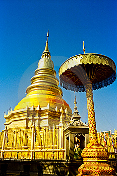 Wat Phrathat Hariphunchai Temple Royalty Free Stock Photos - Image: 18195208