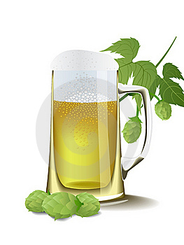 Beer And Hops. Royalty Free Stock Photo - Image: 18195455