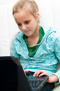 Girl And Computer Royalty Free Stock Image - Image: 18196776