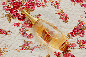Bottle Of Perfume On A Cloth Stock Image - Image: 18198071