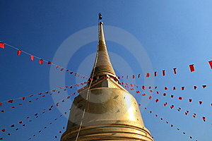 Golden Pagoda With Red Flag Of Buddhism Spell Royalty Free Stock Photography - Image: 18198447