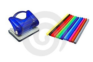 Hole Puncher And Soft-tip Pens Stock Photos - Image: 18198803