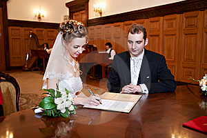 Happy Bride And Groom On Solemn Registration Stock Images - Image: 18199074