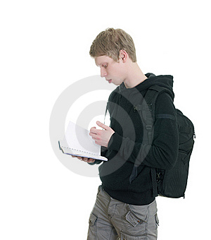 Male Student Holding Some Notebooks Stock Images - Image: 18200574