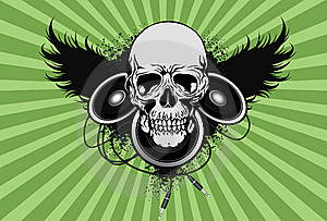 Skull With Spekaer And Wing Royalty Free Stock Photos - Image: 18201628