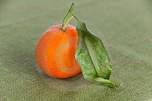 Single Ripe Orange On Green Napkin Royalty Free Stock Photos - Image: 18201788