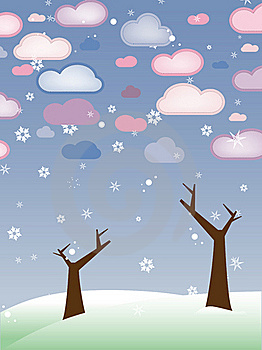 Retro Snowy Landscape With Leafless Trees Winter Royalty Free Stock Photo - Image: 18202845