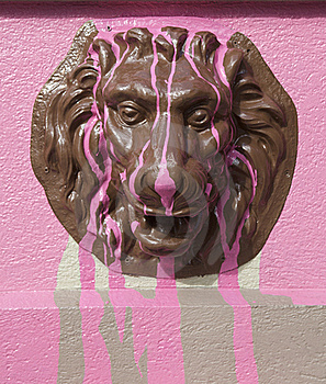 Metal Lion Figure With Pink Colour Stock Photography - Image: 18206162