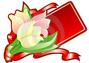 Greeting Card With Tulips Royalty Free Stock Photo - Image: 18215425
