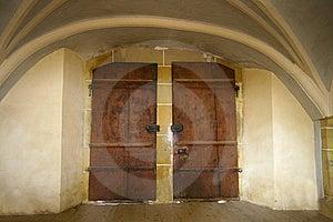 Old Dark Double Door Stock Image - Image: 18219491