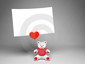 Holder Bear With Love Note Stock Image - Image: 18221531