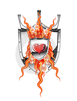 Heart Flame Shield Stock Image - Image: 18222301