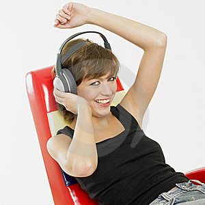 Woman With Headphones Stock Photography - Image: 18223012