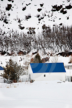 Barn With Blue Roof In Winter Landscape Stock Photos - Image: 18224593