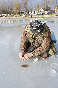 Fisherman. Ice Fishing Competition Royalty Free Stock Images - Image: 18226019
