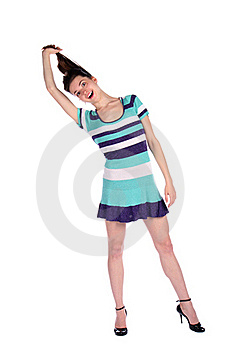Girl In Stripy Blue Dress Pull Her Hairs. Royalty Free Stock Images - Image: 18226109