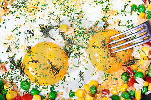 Fried Eggs With Vegetables Stock Photo - Image: 18226720