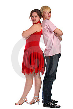 Young Man And Woman Stands Back-to-back Royalty Free Stock Photography - Image: 18227147