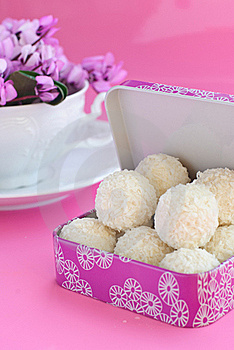 White Candies And A Cup Royalty Free Stock Photography - Image: 18227427