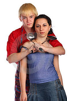 Young Man And Woman Embraces With Utensil Royalty Free Stock Photos - Image: 18227938