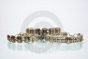 Three Silver Bangles Royalty Free Stock Images - Image: 18230529