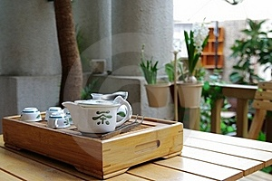 Tea Set On A Small Wooden Table Stock Photos - Image: 18231053
