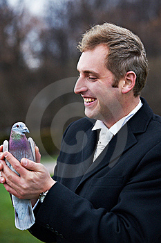 Joyful Groom With Pigeons On Hands Stock Image - Image: 18232271