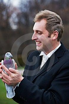 Joyful Groom With Pigeons On Hands Stock Image - Image: 18232271